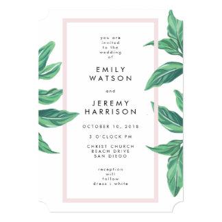 Fresh Tropical Island Leaves Wedding Invitation