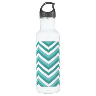 Fresh Turquoise Aquatic chevron zigzag pattern 710 Ml Water Bottle