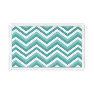 Fresh Turquoise Aquatic chevron zigzag pattern Acrylic Tray
