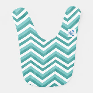Fresh Turquoise Aquatic chevron zigzag pattern Bib