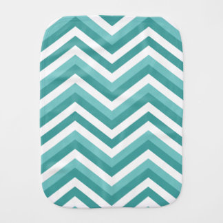 Fresh Turquoise Aquatic chevron zigzag pattern Burp Cloth