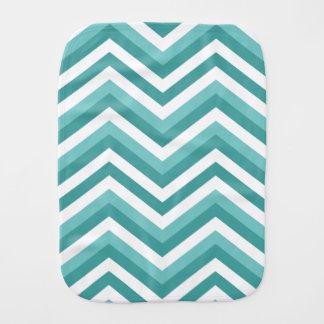 Fresh Turquoise Aquatic chevron zigzag pattern Burp Cloths