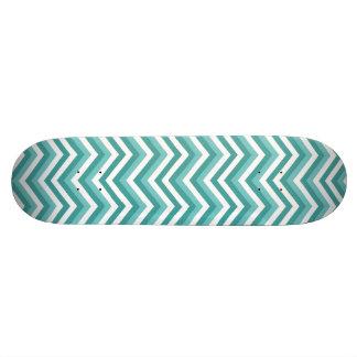 Fresh Turquoise Aquatic chevron zigzag pattern Custom Skateboard