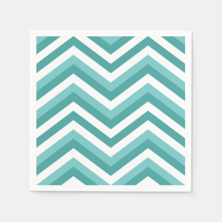 Fresh Turquoise Aquatic chevron zigzag pattern Disposable Napkins