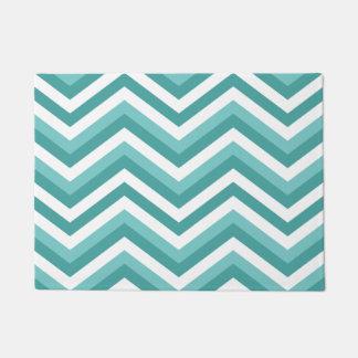 Fresh Turquoise Aquatic chevron zigzag pattern Doormat