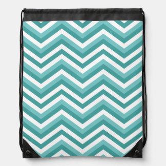 Fresh Turquoise Aquatic chevron zigzag pattern Drawstring Bag