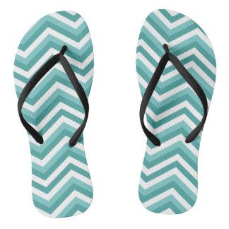 Fresh Turquoise Aquatic chevron zigzag pattern Flip Flops