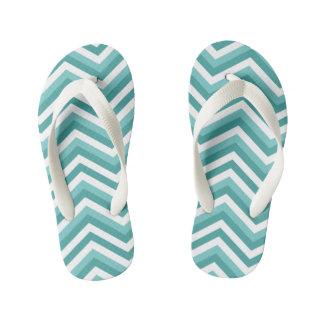 Fresh Turquoise Aquatic chevron zigzag pattern Kid's Flip Flops