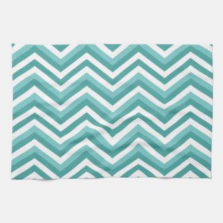 Fresh Turquoise Aquatic chevron zigzag pattern Kitchen Towel