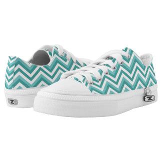 Fresh Turquoise Aquatic chevron zigzag pattern Low-Top Sneakers