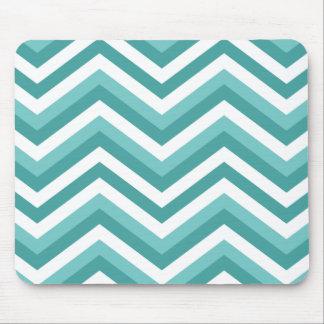 Fresh Turquoise Aquatic chevron zigzag pattern Mouse Pad