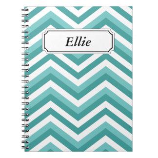 Fresh Turquoise Aquatic chevron zigzag pattern Notebooks