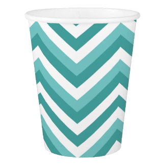 Fresh Turquoise Aquatic chevron zigzag pattern Paper Cup