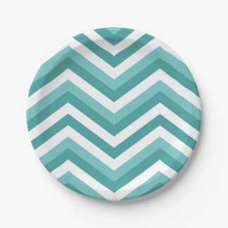 Fresh Turquoise Aquatic chevron zigzag pattern Paper Plate