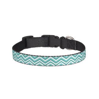 Fresh Turquoise Aquatic chevron zigzag pattern Pet Collar