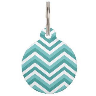 Fresh Turquoise Aquatic chevron zigzag pattern Pet Name Tag