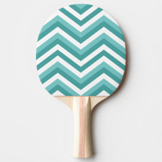 Fresh Turquoise Aquatic chevron zigzag pattern Ping Pong Paddle