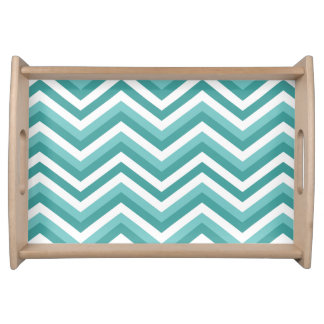 Fresh Turquoise Aquatic chevron zigzag pattern Serving Tray