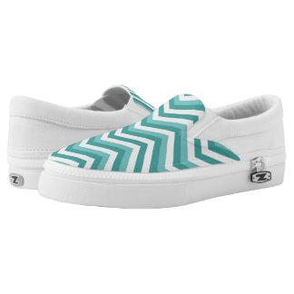 Fresh Turquoise Aquatic chevron zigzag pattern Slip-On Sneakers