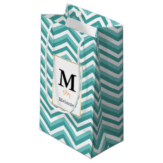 Fresh Turquoise Aquatic chevron zigzag pattern Small Gift Bag