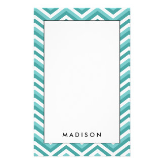 Fresh Turquoise Aquatic chevron zigzag pattern Stationery