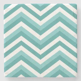 Fresh Turquoise Aquatic chevron zigzag pattern Stone Coaster