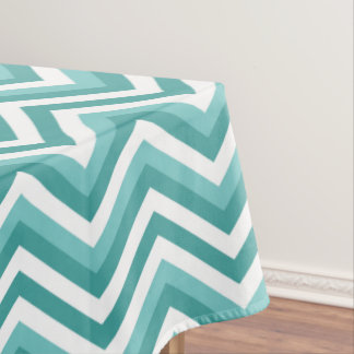 Fresh Turquoise Aquatic chevron zigzag pattern Tablecloth