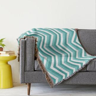 Fresh Turquoise Aquatic chevron zigzag pattern Throw Blanket