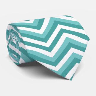 Fresh Turquoise Aquatic chevron zigzag pattern Tie