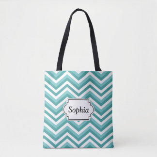 Fresh Turquoise Aquatic chevron zigzag pattern Tote Bag