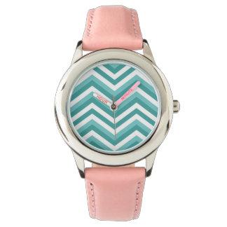 Fresh Turquoise Aquatic chevron zigzag pattern Watch