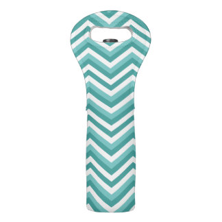 Fresh Turquoise Aquatic chevron zigzag pattern Wine Bag