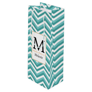 Fresh Turquoise Aquatic chevron zigzag pattern Wine Gift Bag