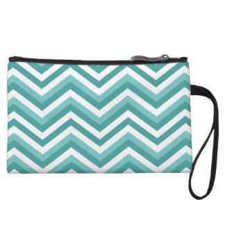 Fresh Turquoise Aquatic chevron zigzag pattern Wristlet