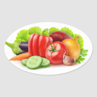 Fresh vegetables oval sticker