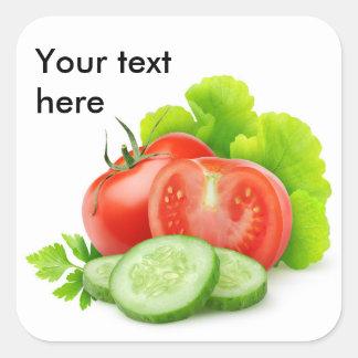 Fresh vegetables square sticker