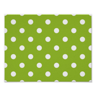 Fresh vintage 70s dots : green white poster