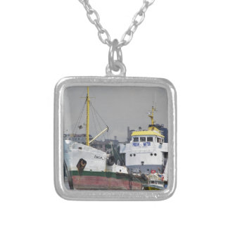 Fresh Water Tanker Silver Plated Necklace