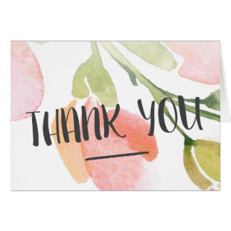 Fresh Watercolor Bloom Thank You Note Card