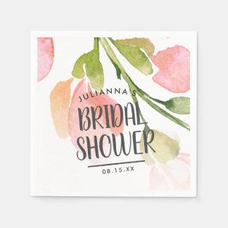 Fresh Watercolor Blooms Bridal Shower Favor Disposable Napkin
