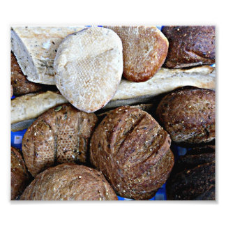 Fresh white and brown bread photographic print