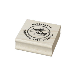 Freshly Baked Personalized Label Wood Stamp