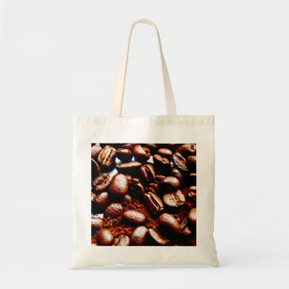 Freshly ground coffee and beans tote budget tote bag
