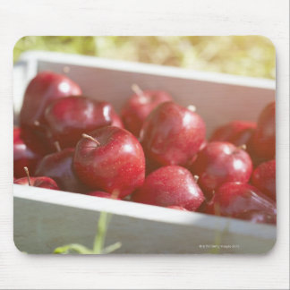 Freshly picked apples in tray. mouse pad