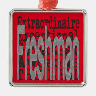 Freshman Extraordinaire Silver-Colored Square Ornament