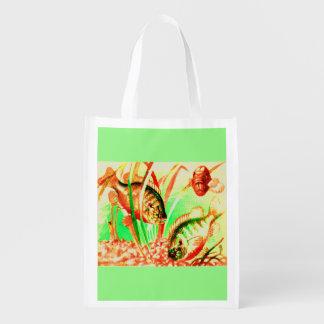 freshwater sunfish print reusable grocery bag