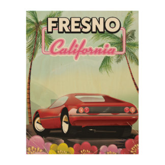 Fresno California travel poster Wood Canvas
