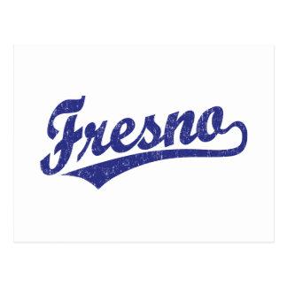 Fresno script logo in blue distressed postcard
