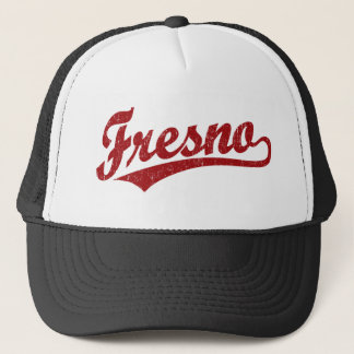 Fresno script logo in red distressed trucker hat