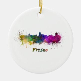 Fresno skyline in watercolor ceramic ornament